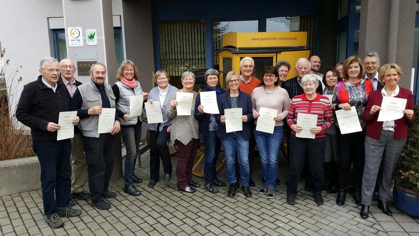 Nordic Walking Gruppe Rotenburg ehr aktive Mitglieder zum Jahresbeginn im Hotel zur Post