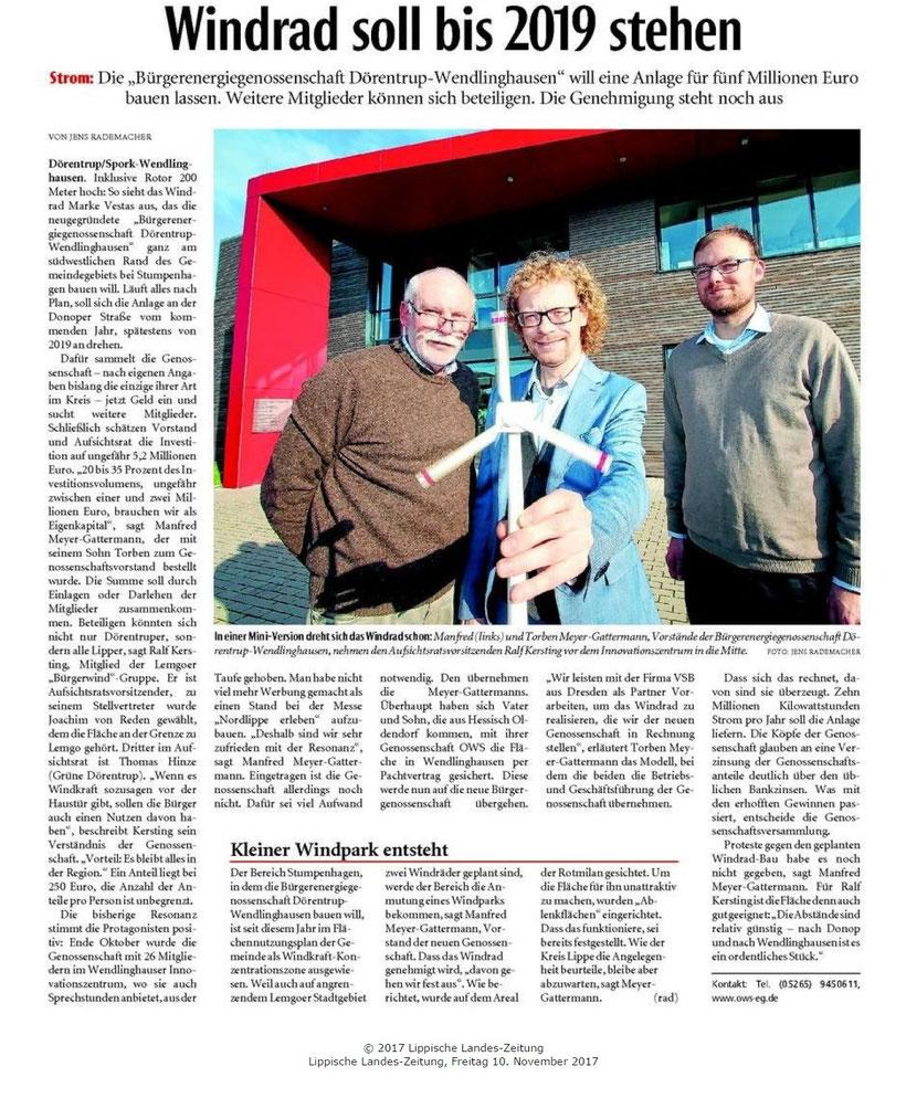 LZ-Bericht Windrad soll bis 2019 stehen