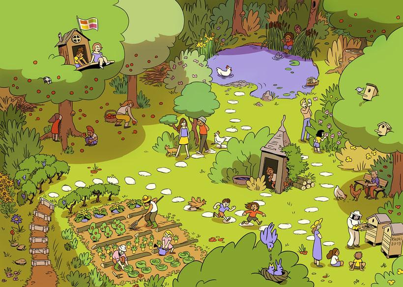 Un jardin... des possibles. Une libre interprétation du jardin du Centre social et culturel par le dessinateur KROKI https://jesuiskroki.artstation.com/