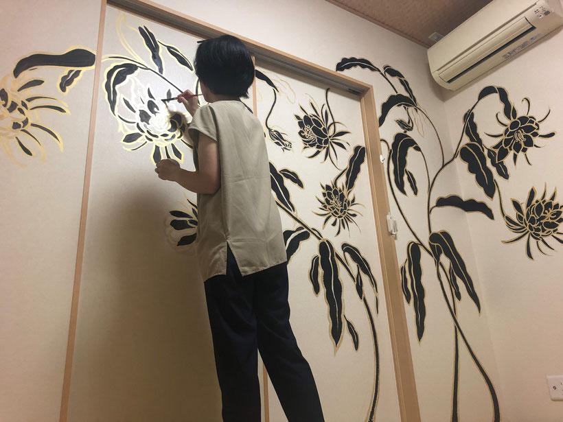 壁絵制作ーオリオンプラス桐生ー 月下美人