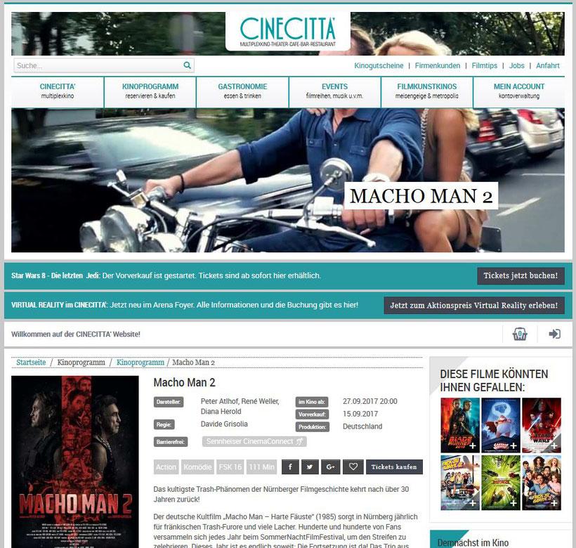 Hier ein Erinnerungs-Screenshot der Cinecitta'-Seite  (Quelle: www.cinecitta.de / 24. Oktober 2017)
