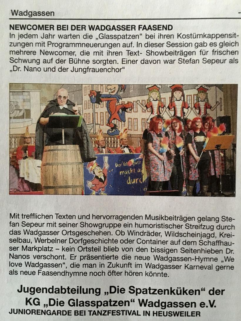Dr. Nano's Ausflug in die Faasend inklusive Vorstellung Wadgassenlied Wadgasser Rundschau 08/2016