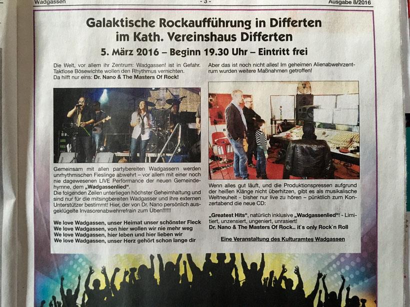 Ankündigung Rockkonzert in Differten in der Wadgasser Rundschau 08/2016