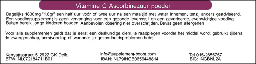 Etiket Vitamine C Ascorbinezuur poeder
