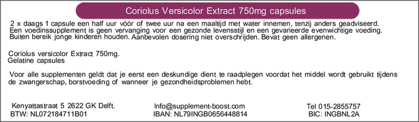 Etiket Coriolus Versicolor Extract 750mg capsules