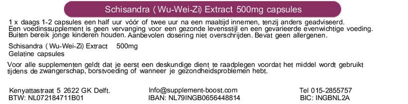 Etiket Schisandra (Wu-Wei-Zi) Extract 500mg capsules