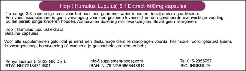 Etiket Hop (Humulus Lupulus) 5:1 Extract 600mg capsules