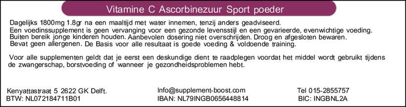 Etiket Vitamine C Ascorbinezuur Sport Poeder