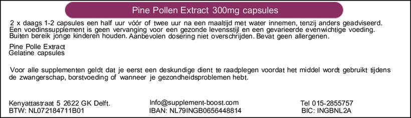 Etiket Pine Pollen Extract 300mg capsules
