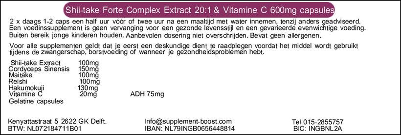 Etiket Shii-take Forte Complex 20:1 600mg + Vitamine C capsules