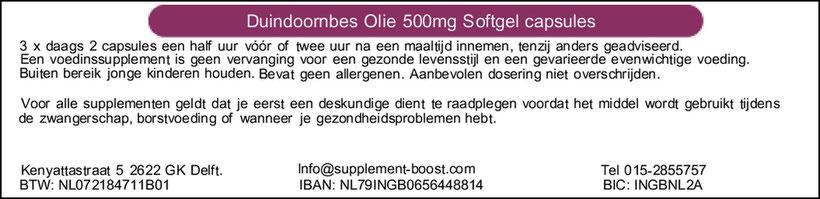 Etiket Duindoornbes Olie 500mg Softgel capsules
