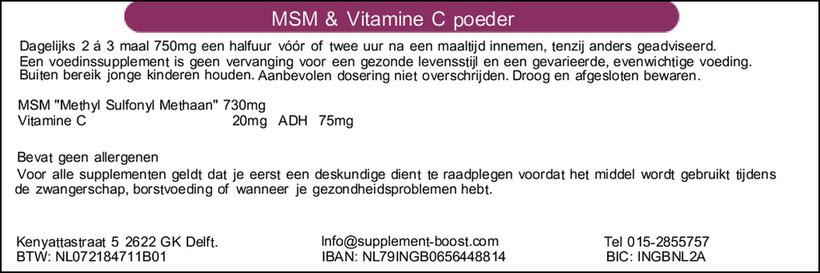 Etiket MSM 100 gram & Vitamine C poeder