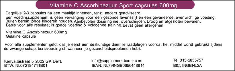 Etiket Vitamine C Ascorbinezuur Sport capsules 600 mg