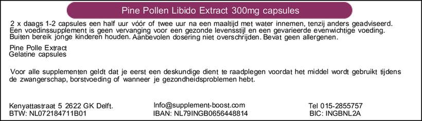 Etiket Pine Pollen libido Extract 300mg capsules
