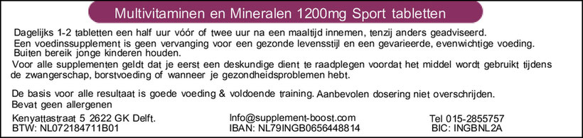 Etiket Multivitaminen en Mineralen 1200mg Sport tabletten