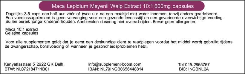 Etiket Maca Lepidium Meyenii Walp Extract 10:1 600mg capsules