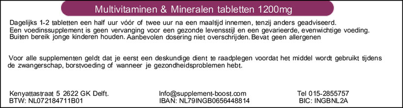 Etiket Multivitaminen & Mineralen tabletten 1200mg
