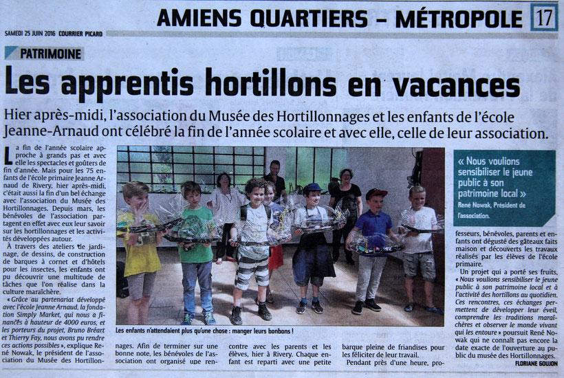 Revue de presse. Courrier Picard en date du 25 juin 2016