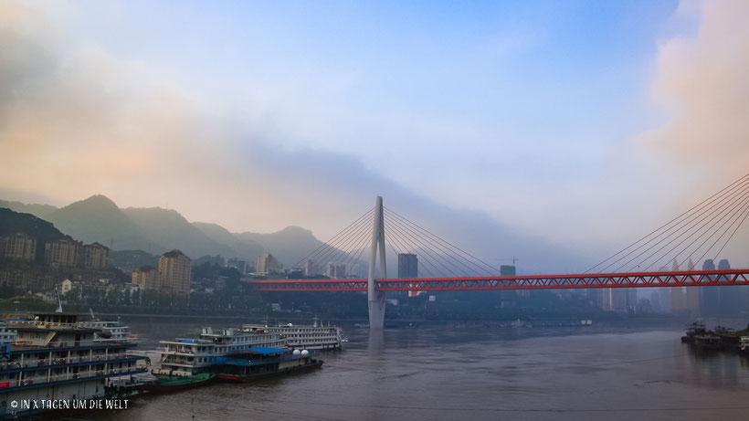 China, Chongqing, Jangtsekiang, Brücke