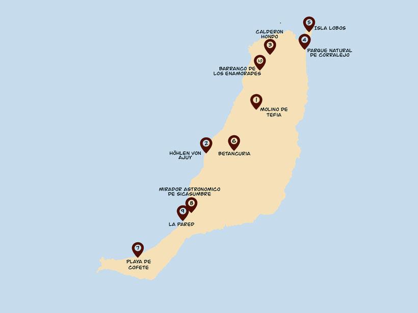 Fuerteventura Schönste Orte Karte Übersicht Map