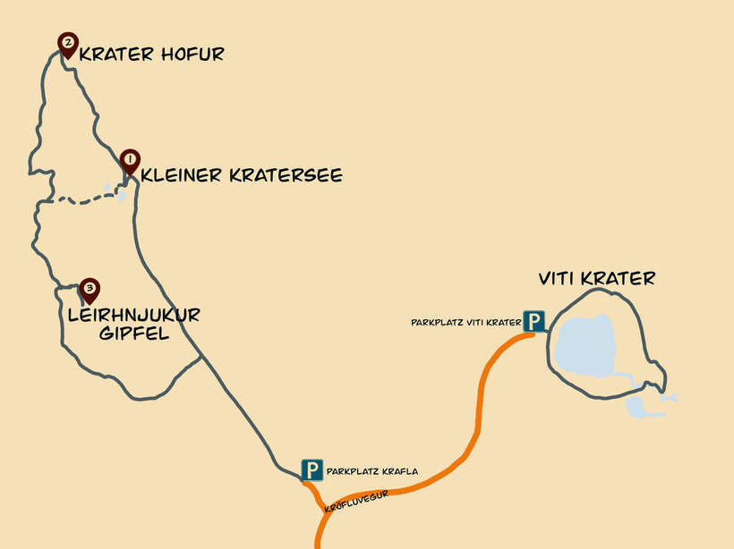 Wandern am Vulkan Krafla, Wanderroute Karte
