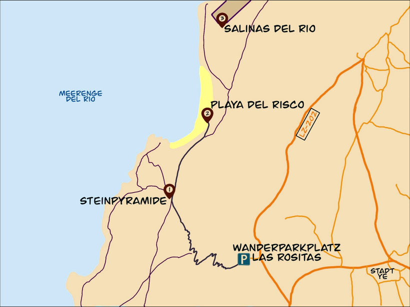 Lanzarote Playa del Risco Wandern Karte