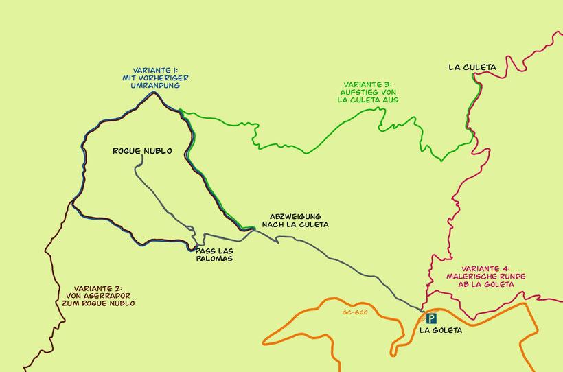 Roque Nublo Wandern Karte