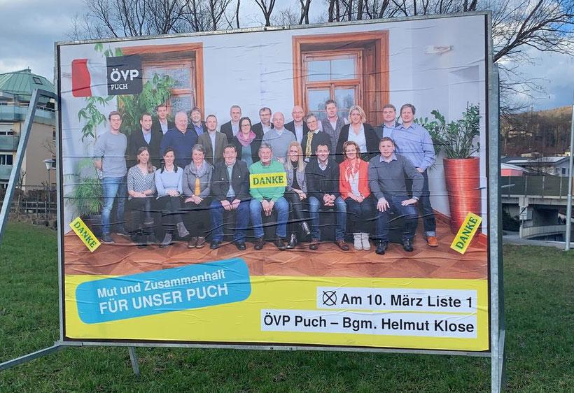 Die ÖVP Puch mit Bürgermeister Helmut Klose sagt DANKE für Ihre Stimme!