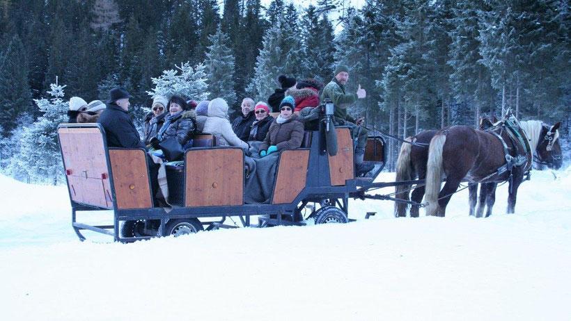 Seniorenbund Puch beim Schlittenfahren im Winter