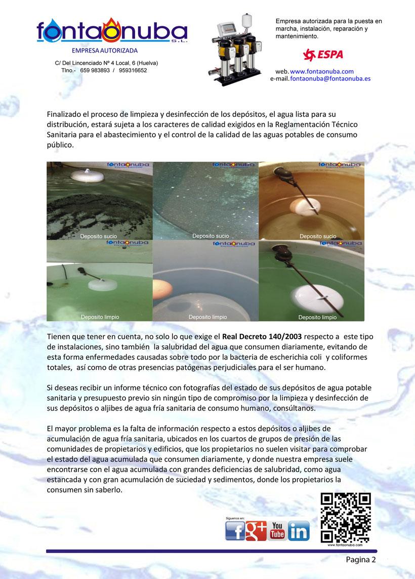 Limpiezas depositos de agua y aljibes Huelva