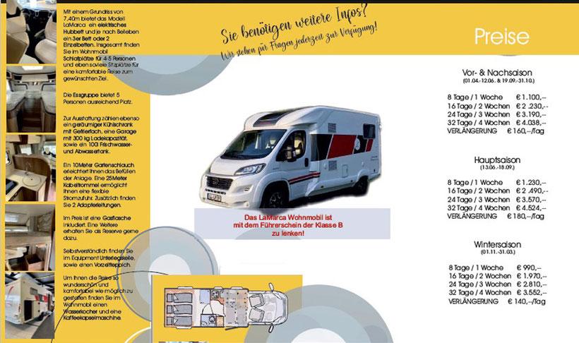 Wohnmobil Reisemobil LaMarca La Marca Miete Vermietung Wien Niederösterreich Österreich E-Scooter