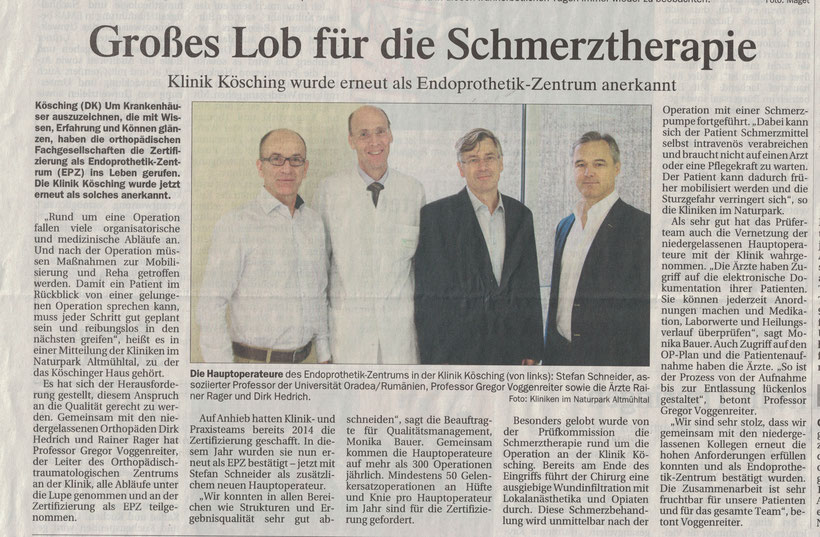 Dr. Hedrich Hauptoperateur im Endoprothesenzentrum Kösching aus Ingolstadt Rezertifizierung 2017