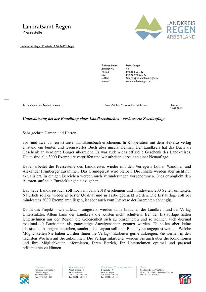 Empfehlungsschreiben - Landkreisbuch