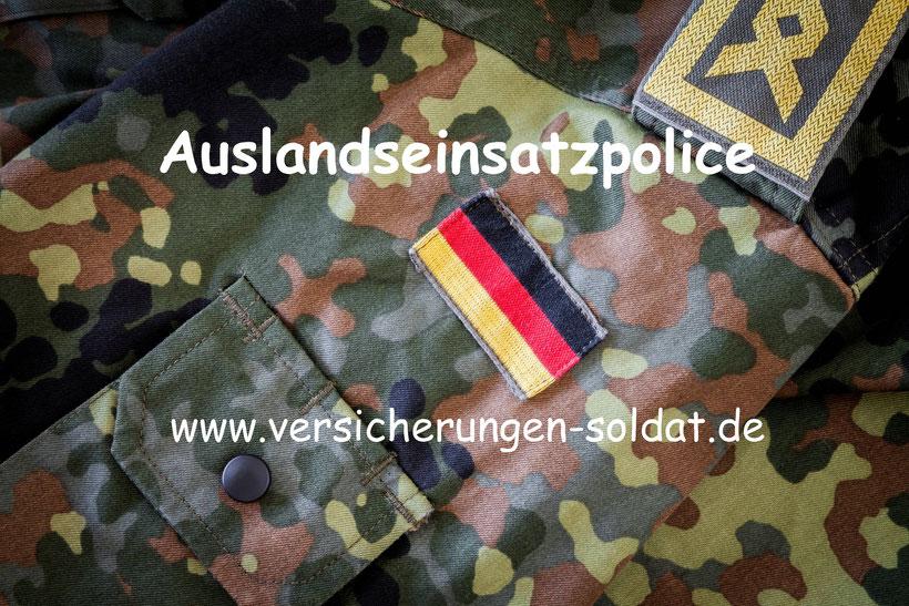 Die Auslandseinsatz Police für den Soldaten der Bundeswehr. Aktives Kriegsrisiko versichert für Afghanistan, Mali usw.