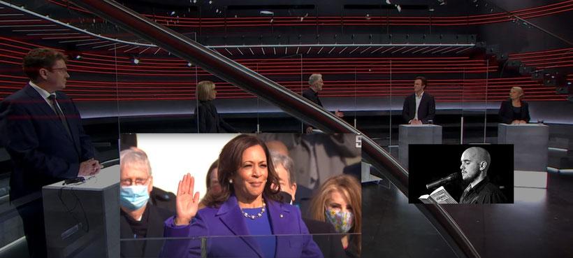US-Vizepräsidentin in der Arena des Schweizer Fernsehens beobachtet von einem Zeitlupen-Satiriker