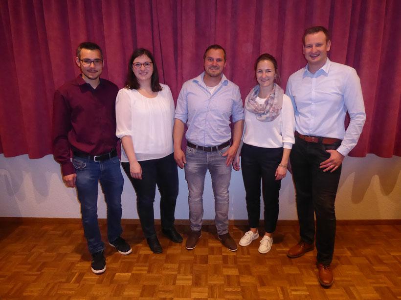 v.l.n.r. Stefan Bucher, Barbara Kiener, Florian Rupp, Eliane Dubach, Erich Unternährer