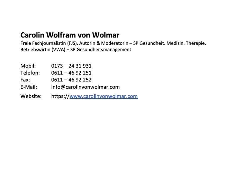 Carolin von Wolmar, Medizin-Journalistin, Moderatorin, Online-Moderation, digitale Veranstaltungen, virtuelle Symposien und Events, Gesundheit, Medizin, Pharma, medikamentöse Therapie