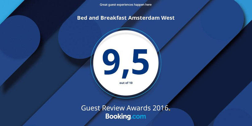 So proud of our fantastic review score on @bookingcom! Guest Review Awards 2016 #guestsloveus @bedandbreakfastamsterdam @broedelet35