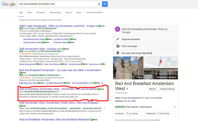 Search results 'Bed and Breakfast Amsterdam West' on Google, red outlined.