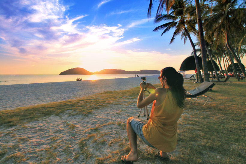 Catching the sunset in Pantai Cenang Beach, Langkawi | One of 10 Fun Things and Activities to do in Langkawi, Malaysia © Sabrina Iovino | via @Just1WayTicket