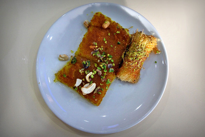 Knafeh!! Yummy! Sweet and cheesy is always a great combination! © Sabrina Iovino | JustOneWayTicket.com