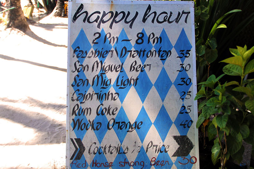 "The cheapest Happy Hour on the island. Beach Bar ""Bei Kurt und Magz"" at Station 3, Boracay, Philippines. 2013 © Sabrina Iovino 