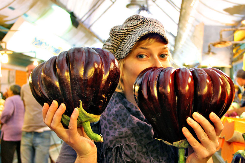 The biggest eggplants I've ever seen and eaten! Found at the Mahane Yehuda Market in Jerusalem, Israel © Sabrina Iovino | JustOneWayTicket.com