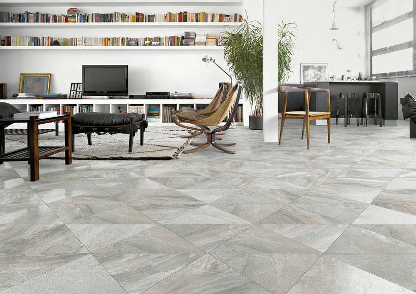 Luxuriöses Wohnzimmer mit Fußboden aus Fliesen von VIVES unexpected surfaces
