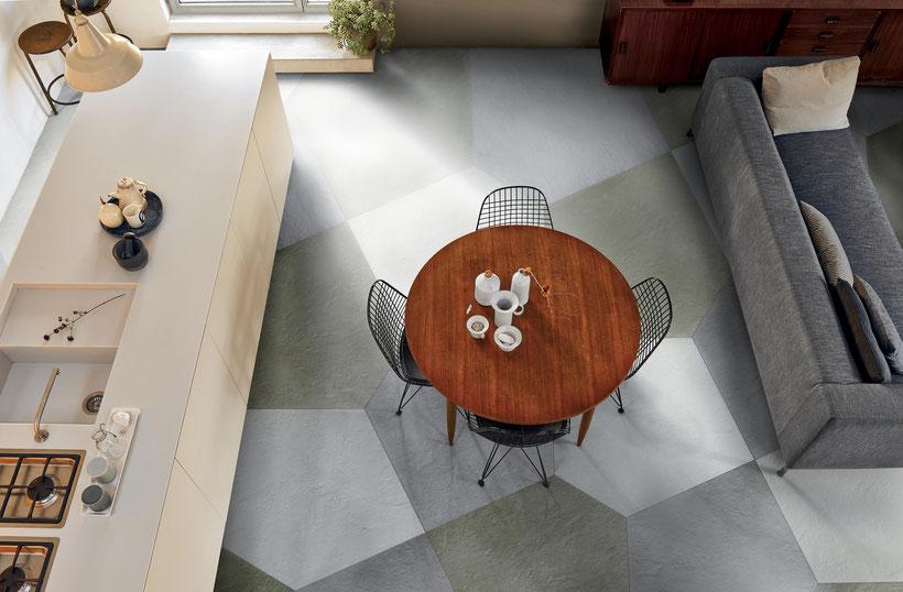 Fußboden mit Fliesen in Betonoptik der Serie Argilla von GIGACER