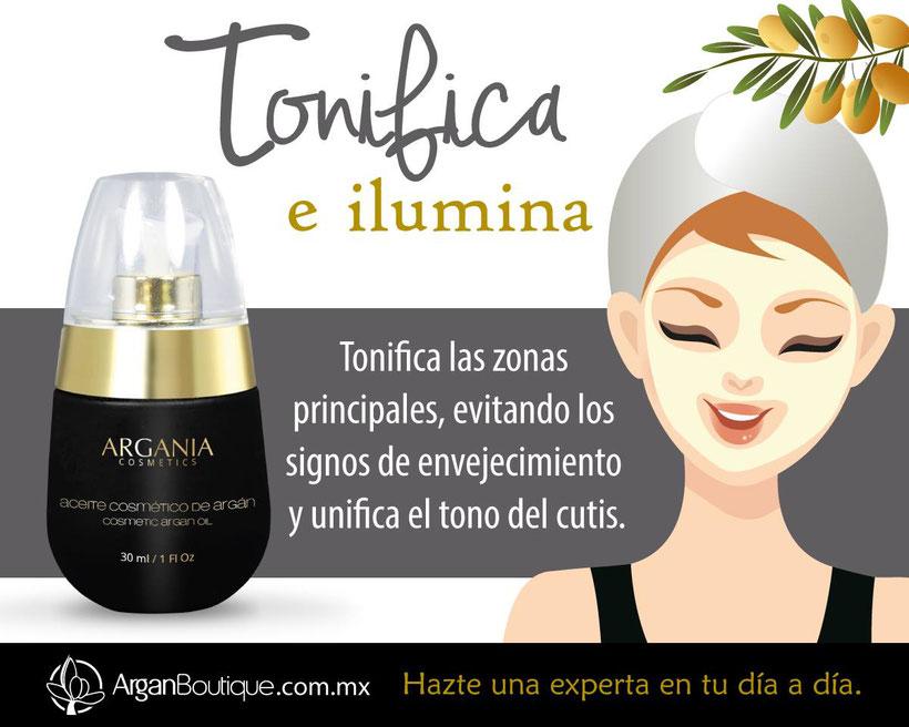 Aceite Cosmético de Argán Orgánico. Cómo usar el aceite de argán en la cara. Beneficios del aceite de argán para la piel y el cabello. Tonifica e ilumina tu piel, evita los signos de envejecimiento y unifica el tono del cutis.