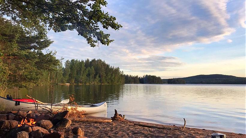 Kanutour am Värmeln in Värmland, Schweden