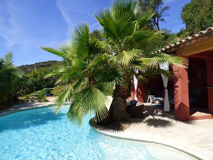 Schwimmbad zum Baden. Liegen oder Chaises longues zum Faulenzen, Sonnenbaden, Lesen, Glas Rosé oder ein Eis an der kleinen Bar