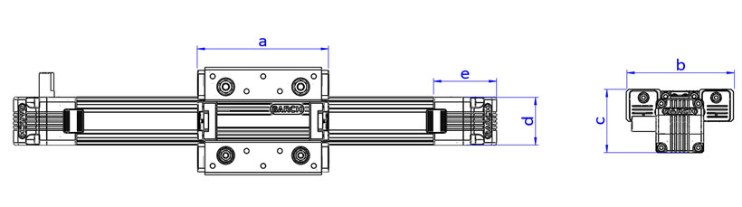 Slider linear guide belt drive, parameters