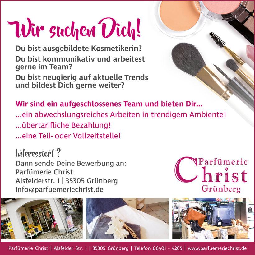 Wir suchen Dich! Kosmetikerin für Parfuemerie Christ in Gruenberg gesucht! Ab sofort!
